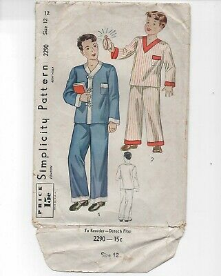 Vintage 30s-40s Simplicity SEWING Pattern Boys 2290/ pajamas/ Size12 / breast 30