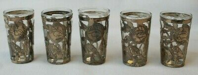 5 Vintage Sterling Silver Over Glass Tequila Cordial Liqueur Shot Glass Mexico