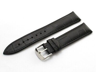 22mm For Emporio Armani AR2432 Black Genuine Leather Strap Band Watch Buckle