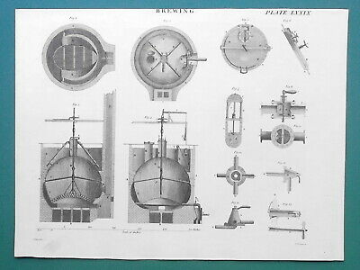 BEER MAKING Brewing Copper Tank Construction Stop Cocks - 1811 Antique Print