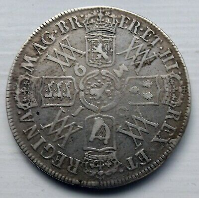 Good Grade 1693 William And Mary Silver Halfcrown  Coin