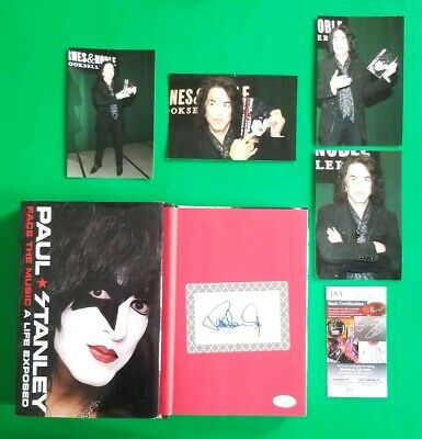 """PAUL STANLEY SIGNED BOOK """"FACE THE MUSIC"""" WITH JSA COA AND 4 PHOTOS Kiss"""