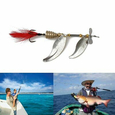 Durable New Metal Crank Bait Fishing Lures Feather Treble Hook Spoon Spinner