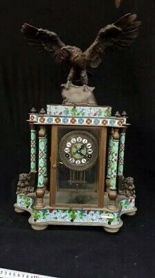 """22.8"""" Chinese Cloisonne Flying eagle Clock Home decoration Tables"""