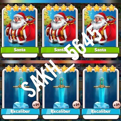 3 x Santa & 3 x Excalibur - Coin Master Cards ( Fastest Delivery )