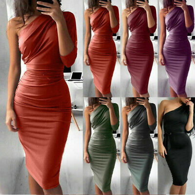 WOMEN ONE SHOULDER BODYCON Midi Pencil Dress Evening Party
