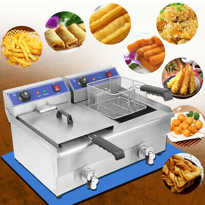 Large Commercial Deep Fryer Electric Twin Basket 2x19L Tank Fish Chips 50-200 °C