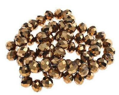 15 Fire-Polished Gold 10mm Rondell Tschechische Kristall Perlen Glas BEST X69