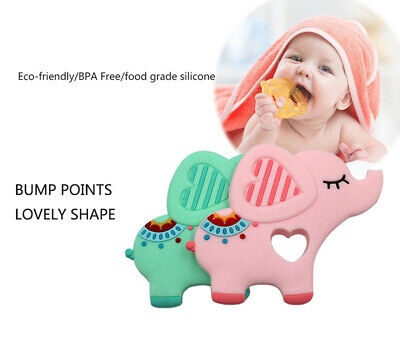 Elephent Baby Teether Silicone Soother Pacifier Chewable Teething Toy Pendant