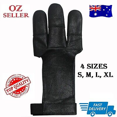 3 Fingers Archery Protect Leather Glove Arrow Pull Bow Shooting Gloves, Black