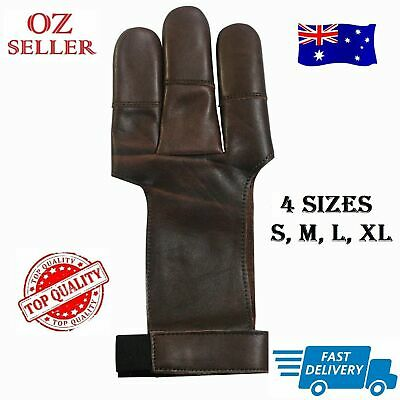 3 Fingers Archery Protect Leather Glove Arrow Pull Bow Hunting Shooting Gloves