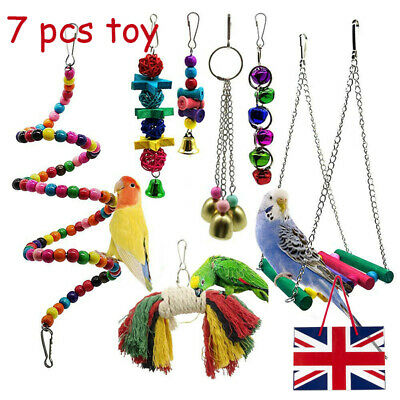 7 Pack Beaks Metal Rope Small Parrot Budgie Cockatiel Cage Pet Bird Toy Supplies