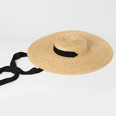 Ribbon Brim Beach Boater In Hat Tie For Hat Summer Wide Cap Straw Women Sun