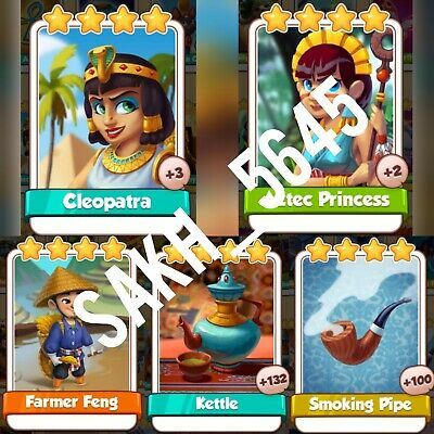 Cleopatra, Aztec Princess, Farmer Feng, Kettle, Smoking Pipe:- Coin Master Card