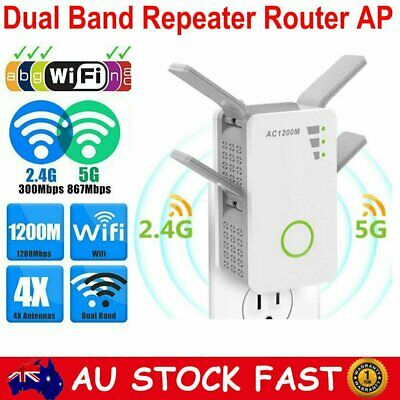 1200Mbps Dual Band Wireless WiFi Router Repeater Signal Range Extender Booster