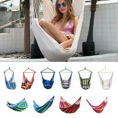 UK Portable Hammock Hanging Rope Chair Swing Chair Seat + 2 Pillows Garden Deck