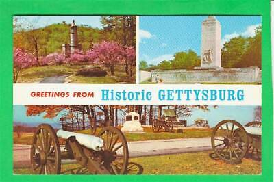 Postcard ~ Greetings from historic Gettysburg Three scenes~ Vintage 7321