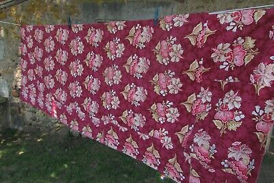 Vintage French Long Long Length Floral Printed Toile Pale Dark Pink Cotton c1930