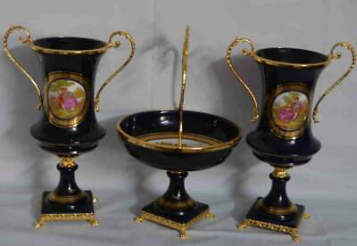 Italy Masons Bronze Centerpiece and Pair of Vases