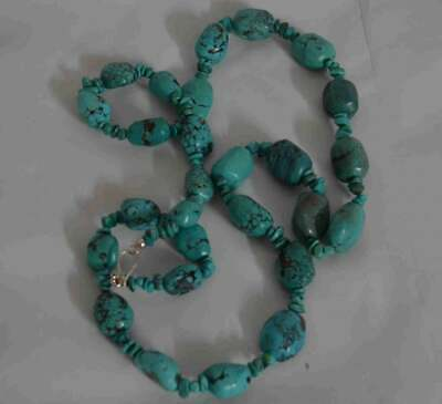 20th Century Chinese Turquoise Necklace and 925 Silver