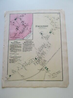 """VILLAGE of FREEPORT"" MAINE ORIGINAL 1871  MAP F W BEERS CUMBERLAND COUNTY ATLAS"