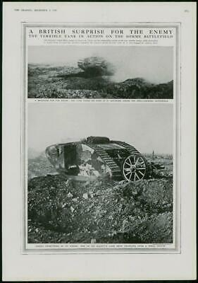 1916 Antique Print - WORLD WAR Somme Land Ships Tanks Shell Crater (297)