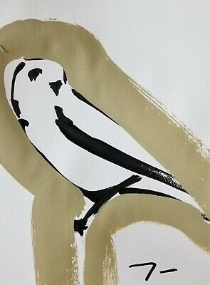 JOSE TRUJILLO - ORIGINAL Art Deco SIGNED ACRYLIC on Paper PAINTING Falcon Design
