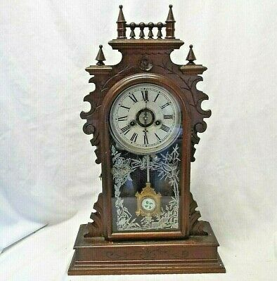 BEAUTIFUL OLD Antique CARVED WALNUT MANTEL ALARM CLOCK WELCH w/ Pendulum & Key