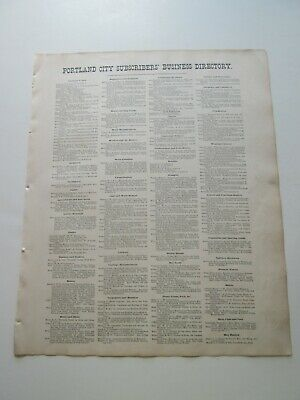 """Business Directory"" Maine Original 1871  Map, F W Beers Cumberland County Atlas"