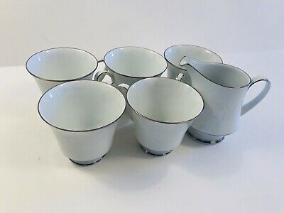 Noritake Ranier 6909 Footed Cup (5) And Creamer (1) with N Stamp