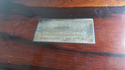 Antique  Wooden Writing Slope Box  -Railway Train - Bank Top Station Darlington