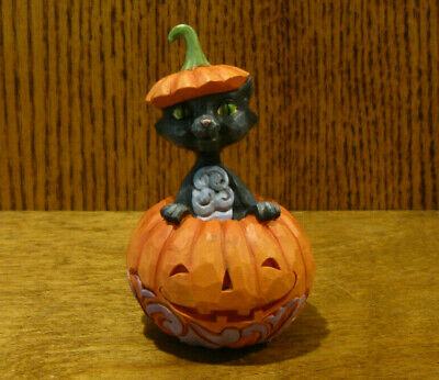 "Jim Shore Heartwood Creek Mini #6004330 CAT POPPING OUT OF PUMPKIN, 4"" HALLOWEEN"
