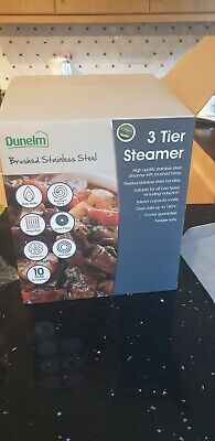 Dunelm Brushed Stainless Steel 3 Tier Steamer