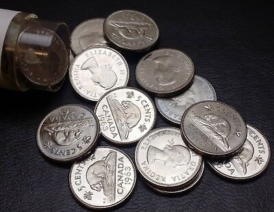 Roll of 40x 1963 Canada 5 Cent Nickels - Shipped Flat to Reduce Cost - UNC BU