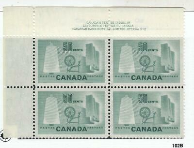 CANADA # 334  VF-MNH  50cts TEXTILE INDUSTRY PLATE #2 /BLOCK OF 4 CAT VAL $36