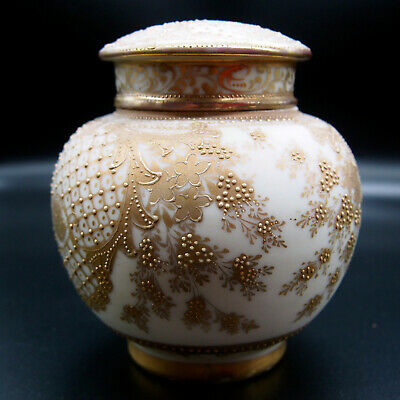 Nippon Hand Painted Antique Moriage Gold Tea Caddy Circa 1913 ---  Hrh