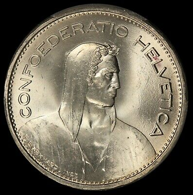 1937-B Switzerland 5 Francs Silver Coin - PCGS MS 66 - KM# 40