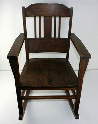 Antique Mission Solid Oak Arts & Crafts Stickley Limbert Era Child's Rocker OLD