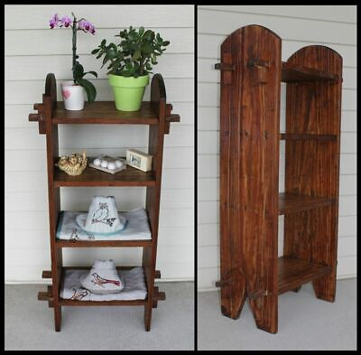 Vintage Arts & Crafts Mission Solid Wood Pegged 4 Shelf Bath Stand Book Rack OLD