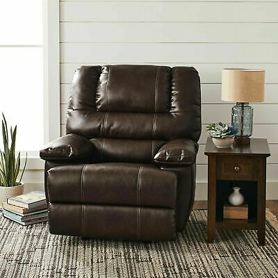Deluxe Rocking Recliner Chair Home Living Room Furniture Storage Arms Dark Brown