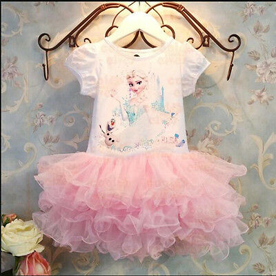 Casual Princess Baby Girls Frozen Elsa Party Dress Lace Tutu Dress Sundress