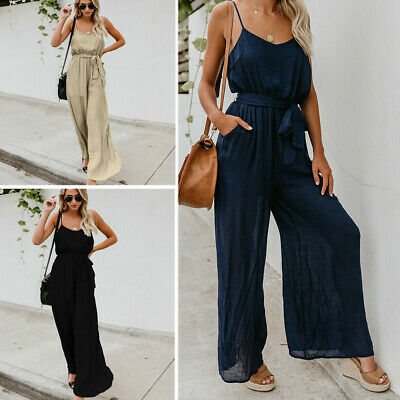 Women Sleeveless Playsuit Loose Wide Leg Jumpsuit Overall Long Trousers Pant