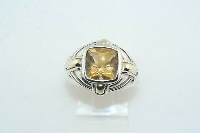 Samuel B Bjc Citrin Sterlingsilber Gold Plattiert Ring Sz-6