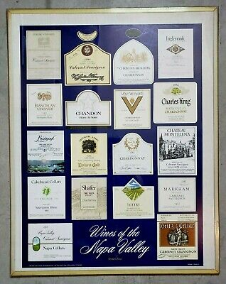 1985 Wines of the Napa Valley display poster board - Series Two ---- wine labels