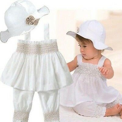 Infant Baby Girls Tops Dress+Pants+Hat Party Outfits Set Summer Casual Clothes