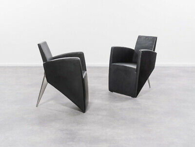 Philippe Starck ' Lang' armchair / chair in black leather by Aleph, Italy