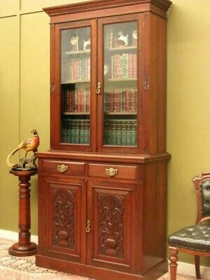 ANTIQUE CARVED WALNUT 2 HEIGHT BOOKCASE DISPLAY CABINET ~ NARROW SIZE  c1900s