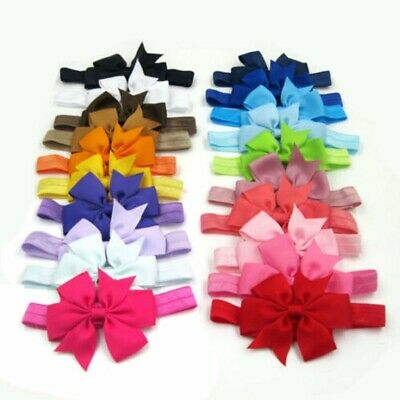 Lot Elastic Baby Headdress Kids Hair Band Girls Bow Newborn Headband Ribbon Gift