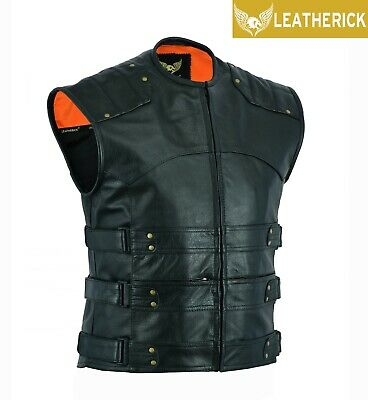 Men's Top Grain Gladiator Vest Motorcycle Club Style Black Leather Waistcoat UK