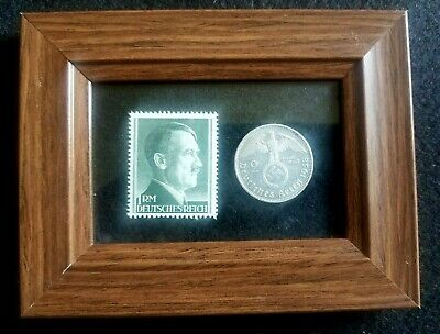 German WW2 Rare 2 Mark Silver Coin and Stamp in a Secure Black Display Frame